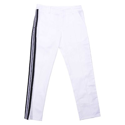 White cotton gabardine pants