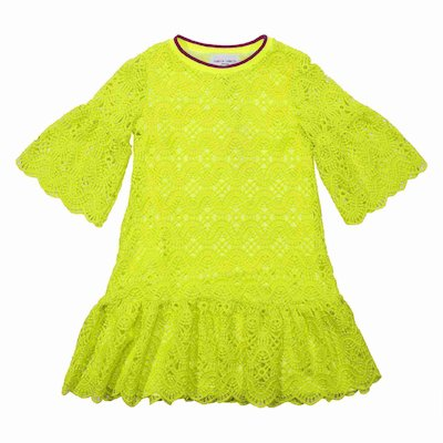 Fluo yellow broderie anglaise dress