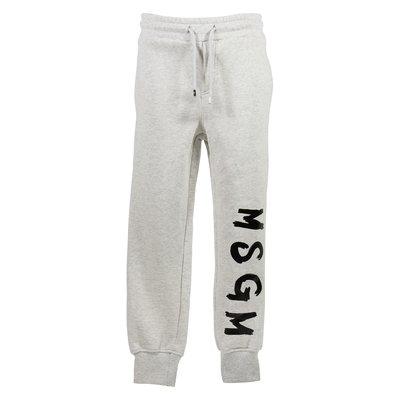 Pantaloni grigio melange in felpa di cotone con logo pennellato