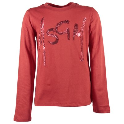 Red sequined logo cotton jersey t-shirt