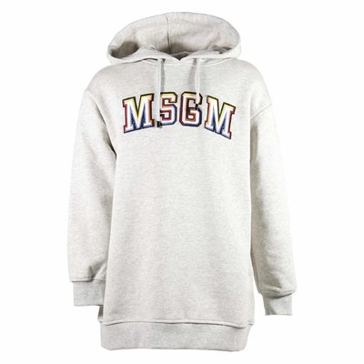 Melange grey embroidered logo detail sweatshirt hoodie