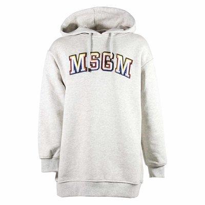 Melange grey embroidered logo detail sweatshirt hoodie