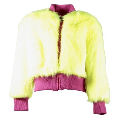 Fluo yellow faux fur bomber jacket