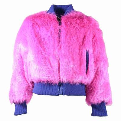 Fuchsia faux fur bomber jacket