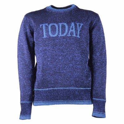 Pullover lamé blu