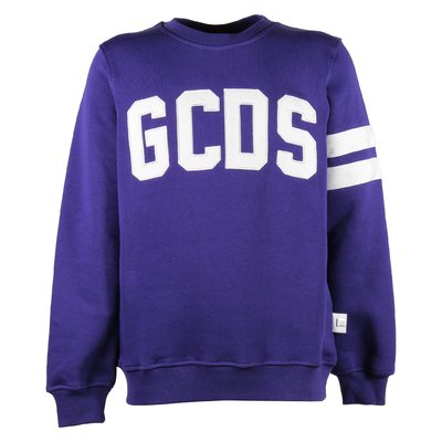 Purple logo detail cotton sweatshirt