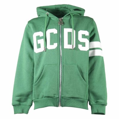 Green cotton zip-up sweatshirt hoodie