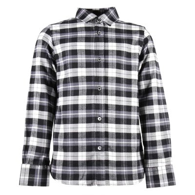 Black and white tartan cotton poplin shirt