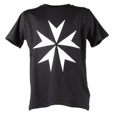 Black printed cotton jersey t-shirt