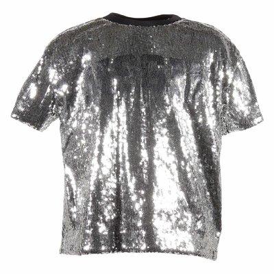 T-shirt argentata con logo e paillettes
