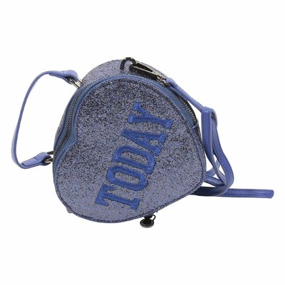 Blue glitter heart shape faux leather purse