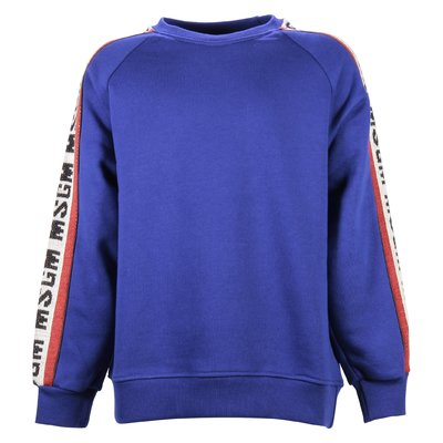 Royal blue intarsia logo cotton sweatshirt
