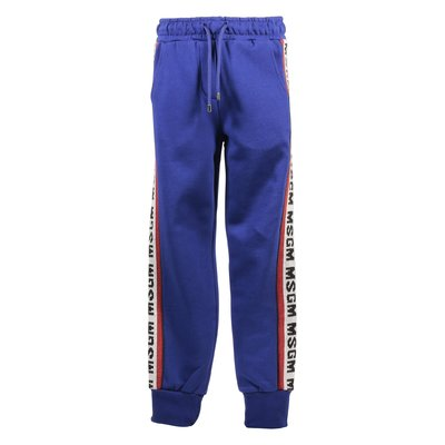 Royal blue intarsia logo cotton sweatpants