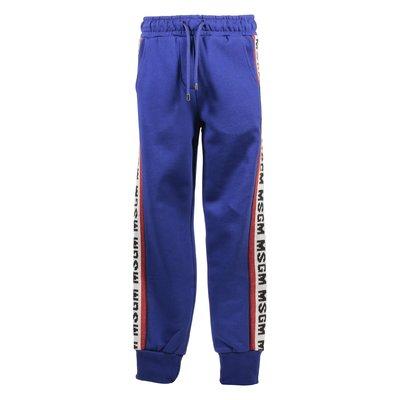 Pantaloni blu royal in cotone con logo a intarsio