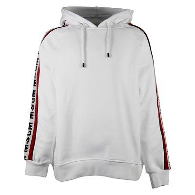 White intarsia logo cotton sweatshirt hoodie