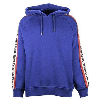Royal blu intarsia logo cotton sweatshirt hoodie