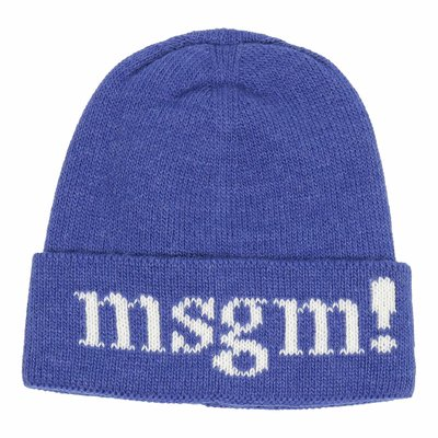 MSGM royal blue wool blend knitted beanie