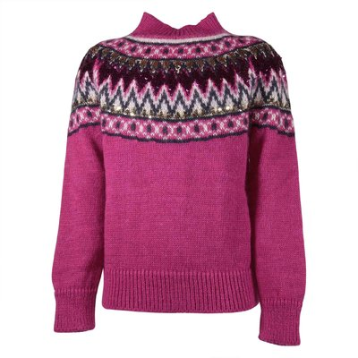 Fuchsia mohair blend knit jumper with sequins