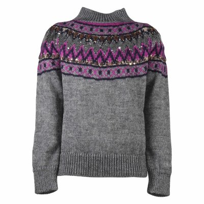 Grey mohair blend knit jumper