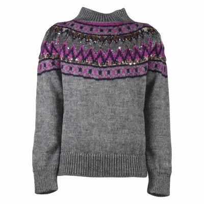 Pullover grigio in maglia di misto mohair con paillettes