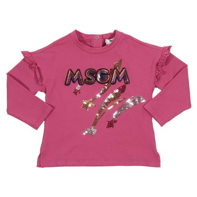 T-shirt fucsia in jersey di cotone