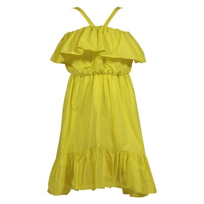 Lemon yellow cotton poplin dress