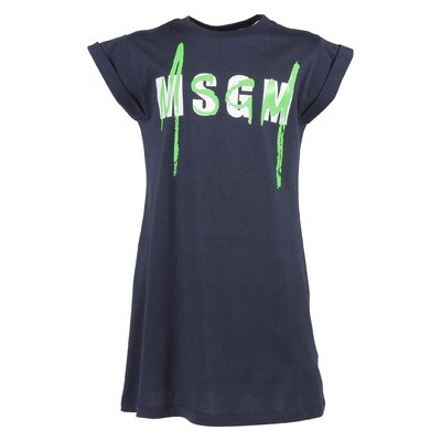 Navy blue logo cotton jersey t-shirt dress