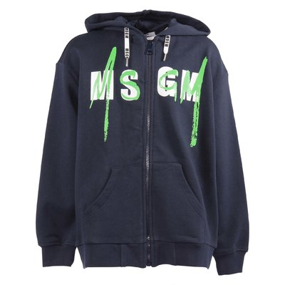 Navy blue cotton zip-up hoodie