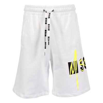 White logo detail cotton sweat shorts