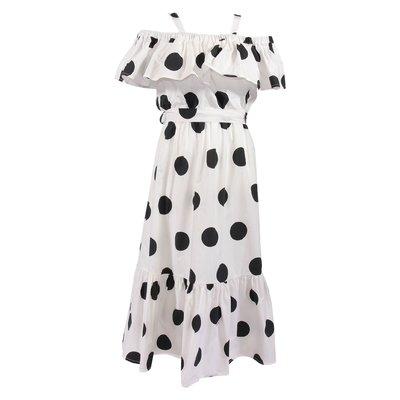 White maxi polka dots cotton poplin dress