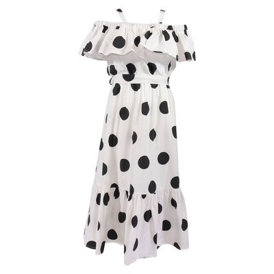 White maxi polka dot cotton poplin dress