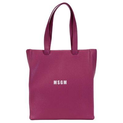 MSGM fuchsia logo detail faux leather bag