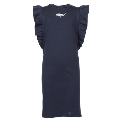 MSGM navy blue cotton jersey dress with ruffles