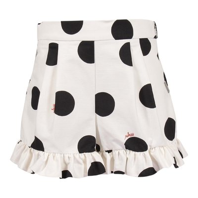 White polka dot pattern shorts with ruffled detail