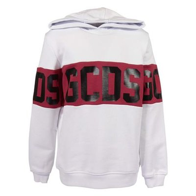 White logo cotton sweatshirt hoodie