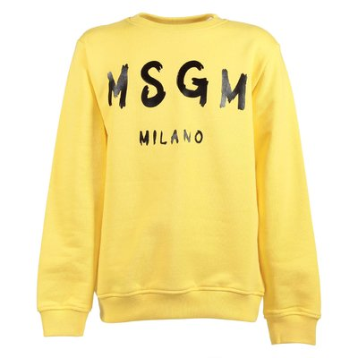 Yellow logo detail cotton sweatshirt