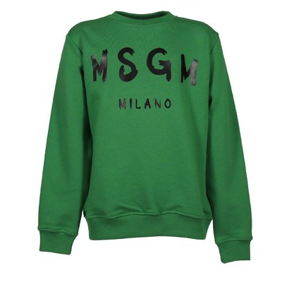 Green logo detail cotton sweatshirt