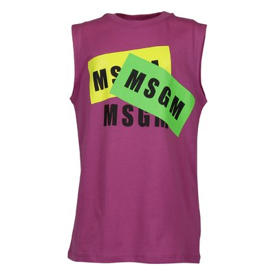 MSGM fuchsia multi logo cotton jersey tank top