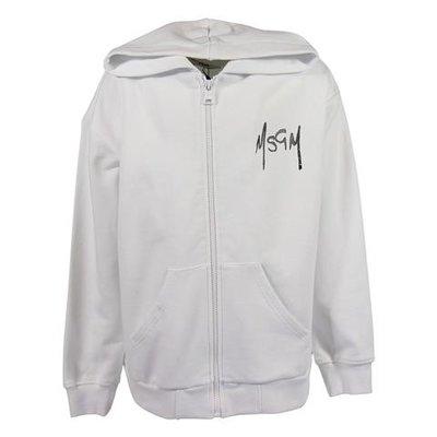 White logo detail cotton hoodie