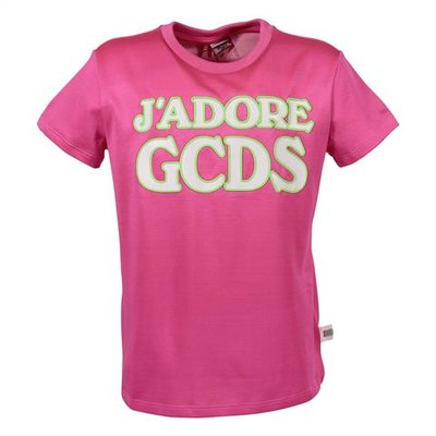 GCDS fuchsia logo detail cotton blend t-shirt