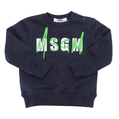 MSGM navy blue logo cotton sweatshirt