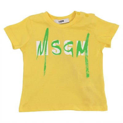 MSGM yellow logo cotton jersey t-shirt