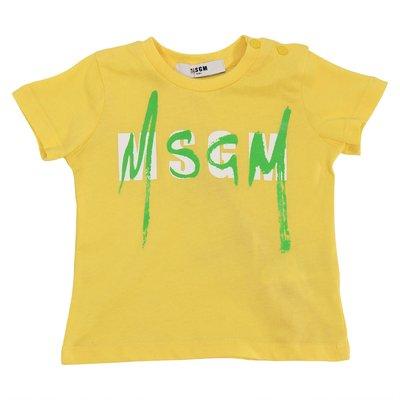 T-shirt gialla in jersey di cotone con logo