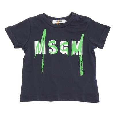 MSGM navy blue logo cotton jersey t-shirt