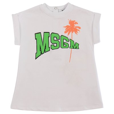 MSGM white logo cotton sweatshirt dress
