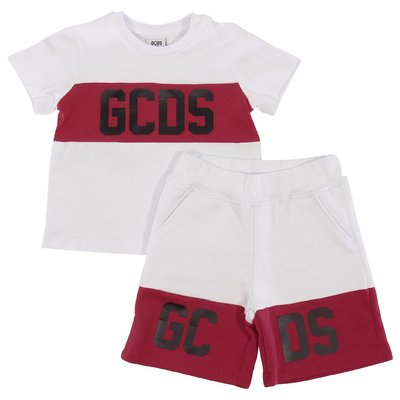 White contrasting logo and details cotton jersey set