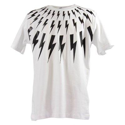 White iconic thunderbolt prints cotton jersey t-shirt
