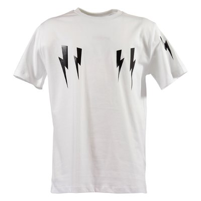 White iconic thunderbolt prints cotton jersey t-shirt
