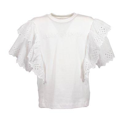T-shirt bianca in jersey di cotone con dettagli in pizzo di sangallo