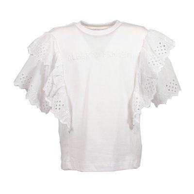 White eyelet lace details cotton jersey t-shirt